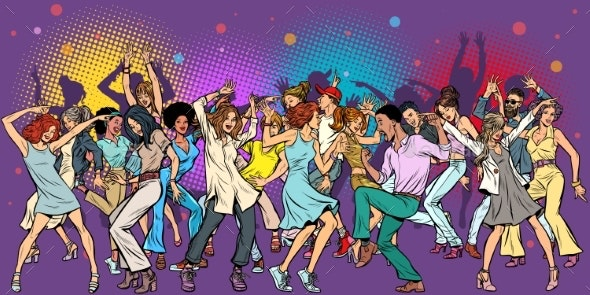 Party at the Club Dancing Young People - People Characters
