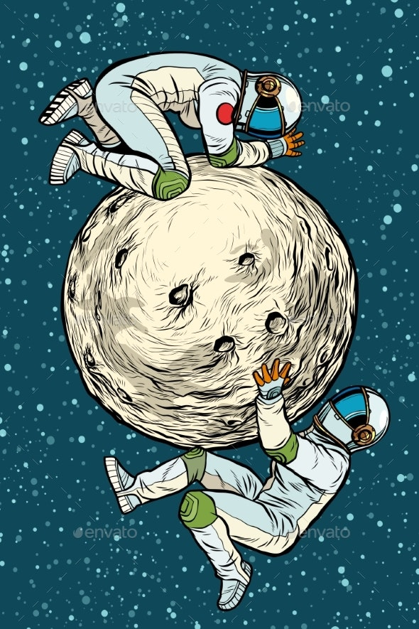 Astronauts on the Moon Space Exploration - People Characters