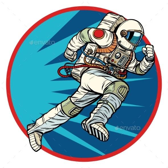 Astronaut Runs Forward Round Logo Symbol Icon - People Characters
