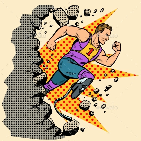 Breaks the Wall Disabled Runner with Leg - Sports/Activity Conceptual