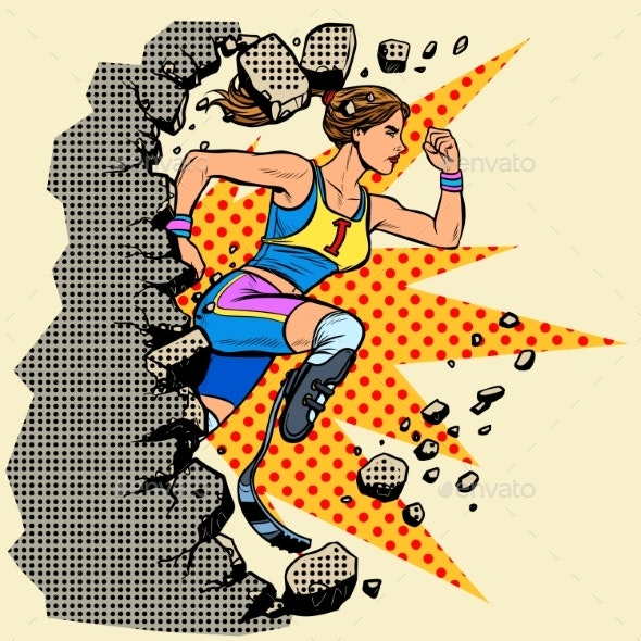 Breaks the Wall Disabled Woman Runner with Leg - Sports/Activity Conceptual