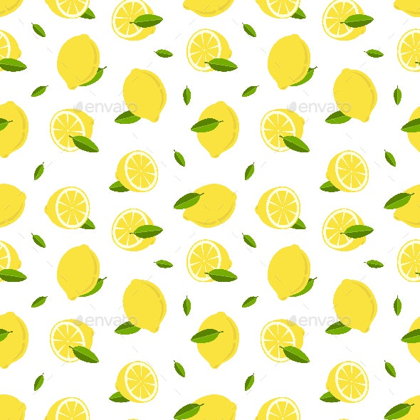 Lemon Fruit Seamless Pattern - Patterns Decorative