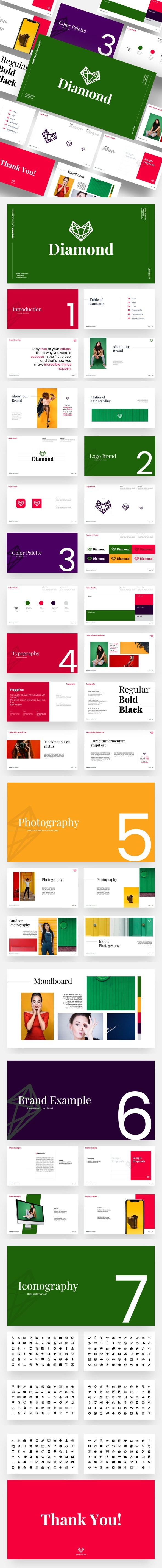 Diamond - Brand Guidelines Powerpoint Template - Creative PowerPoint Templates