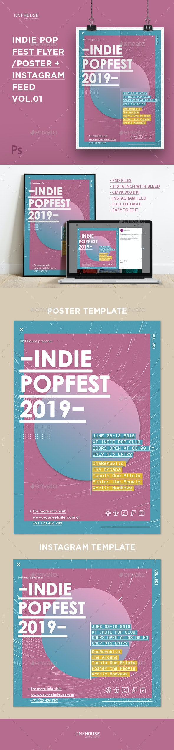Indie Pop Fest Flyer/Poster Vol. 01 - Concerts Events