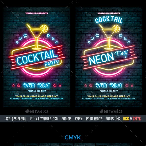 Neon / Cocktail Party Flyer