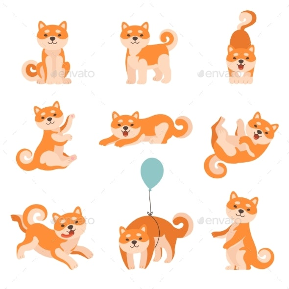 Shiba Inu Dogs Performing Everyday Activities Set - Animals Characters