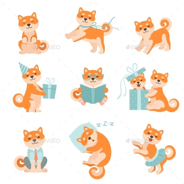 Shiba Inu Dogs in Different Situations Set - Animals Characters