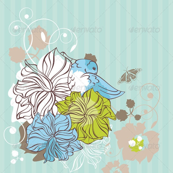 Lovely Floral Card - Backgrounds Decorative