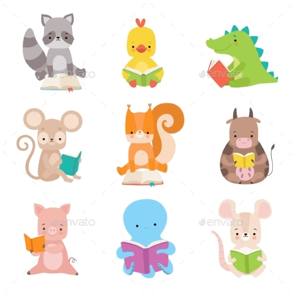 Cute Animals Characters Reading Books Set - Animals Characters