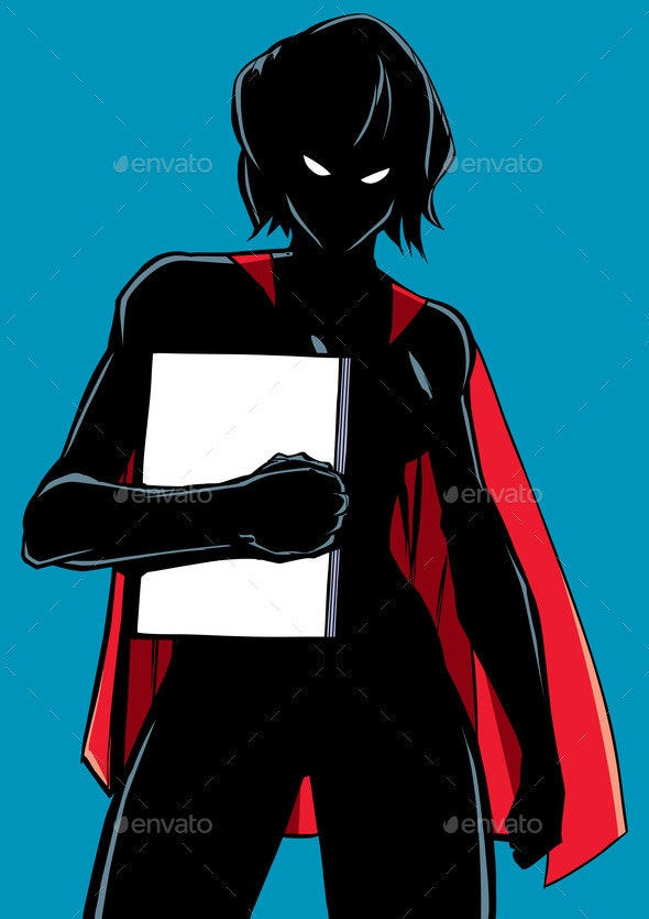 Superheroine Holding Book Silhouette - People Characters