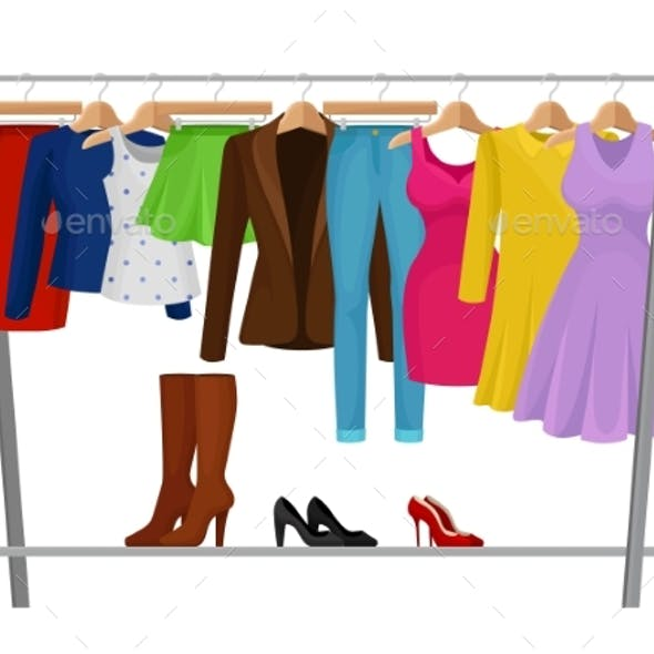 Cartoon Colorful Clothes on Hangers Fashion