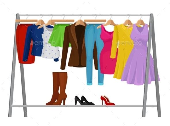 Cartoon Colorful Clothes on Hangers Fashion - Man-made Objects Objects