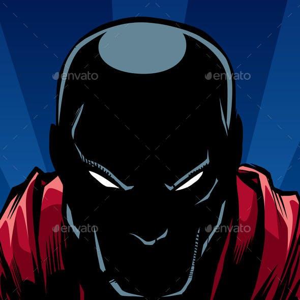 Superhero Portrait at Night Silhouette