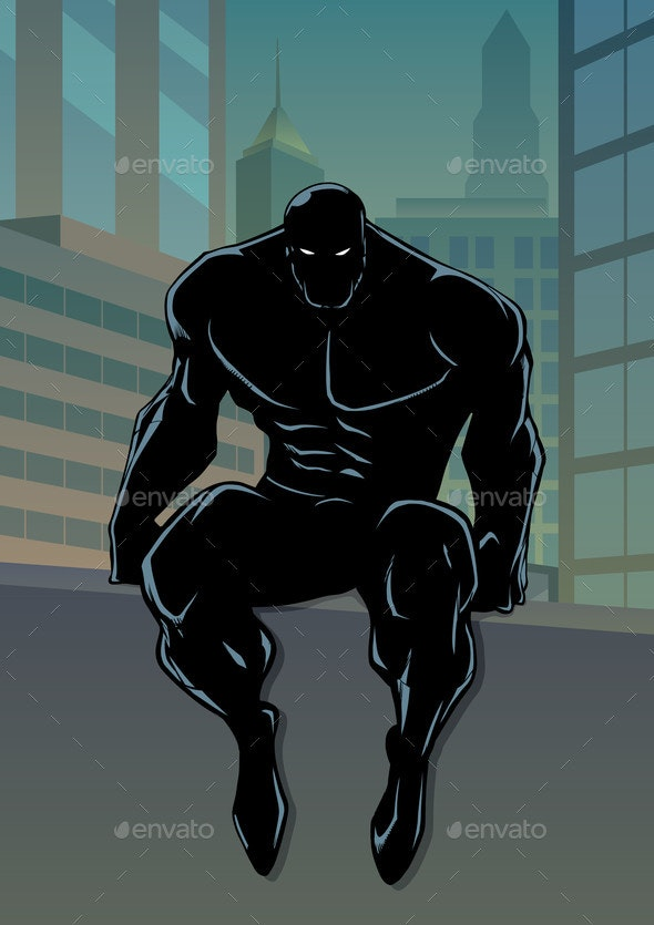 Superhero Sitting on Wall No Cape Silhouette - People Characters