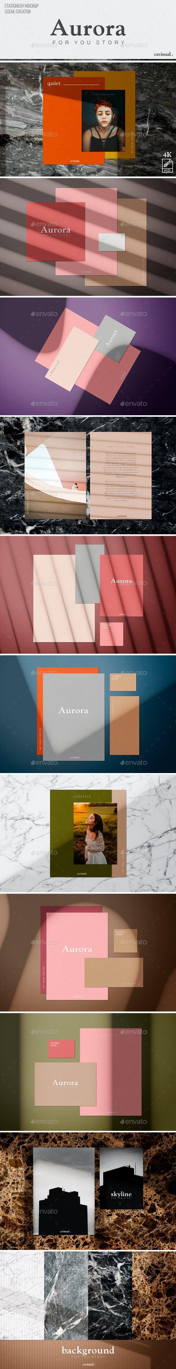 Aurora - (Mockup Kit) Scene Creator - Stationery Print