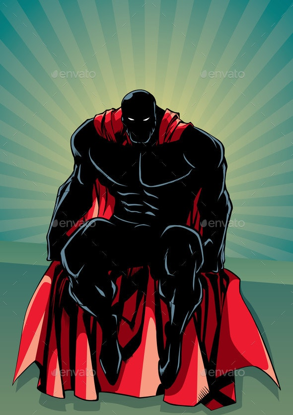 Superhero Sitting Ray Light Silhouette - People Characters