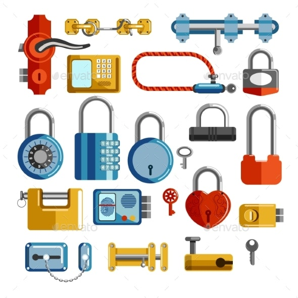 Locks and Door Handles Isolated Objects Keys - Man-made Objects Objects