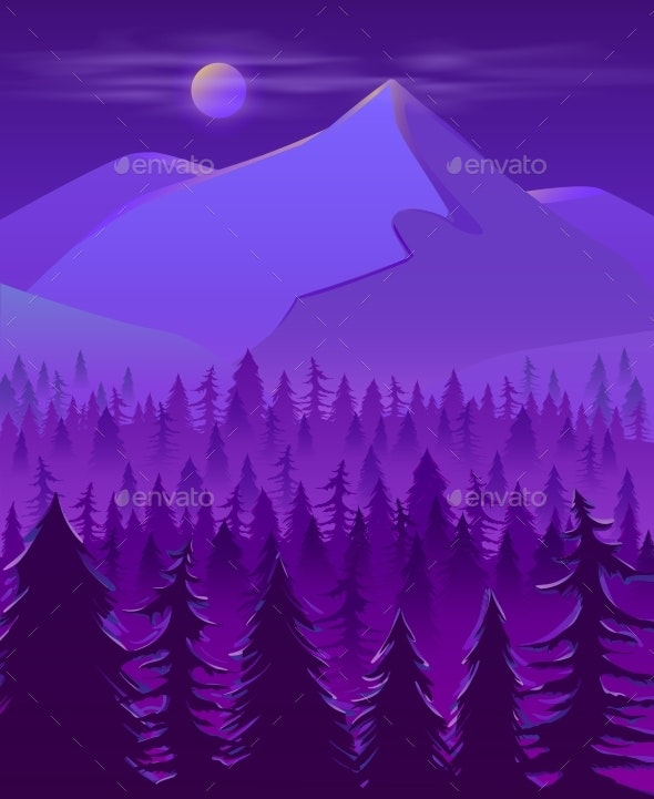 Wild Northern Land Night Landscape Cartoon Vector - Animals Characters