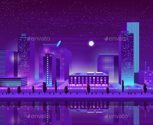 Modern City Downtown Cityscape Cartoon Vector - Buildings Objects