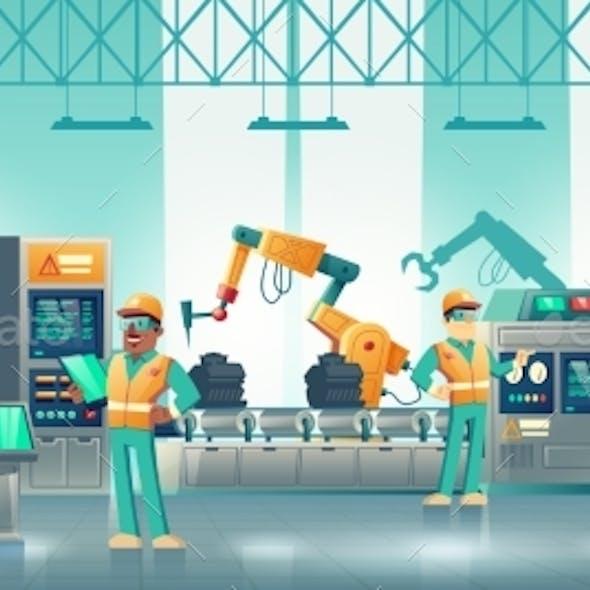 Modern Factory Robotized Conveyor Cartoon Vector