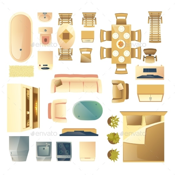 Home Furniture and Appliances Cartoon Vector Set - Man-made Objects Objects