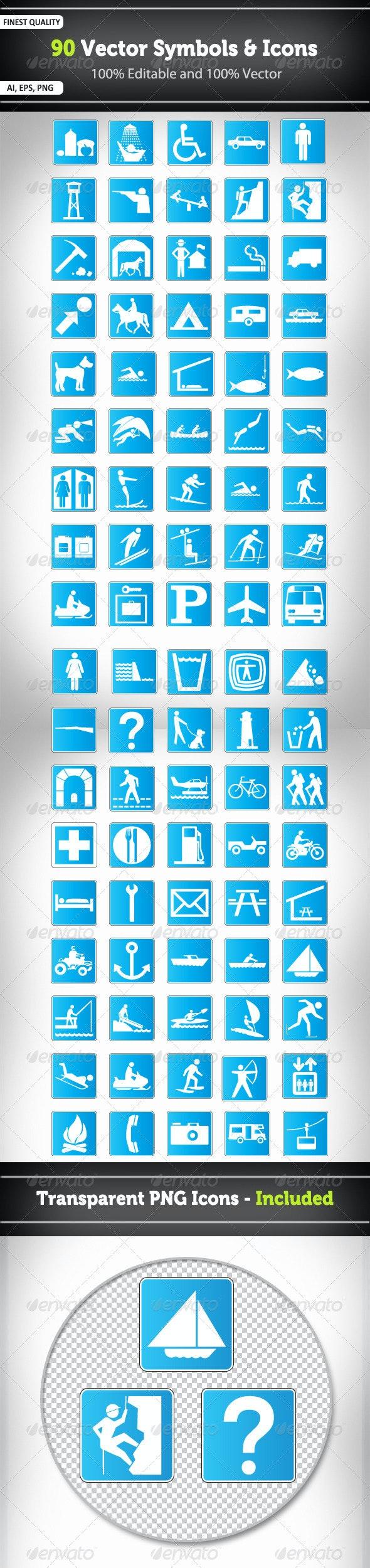 90 Vector Symbols and Icons - Decorative Symbols Decorative