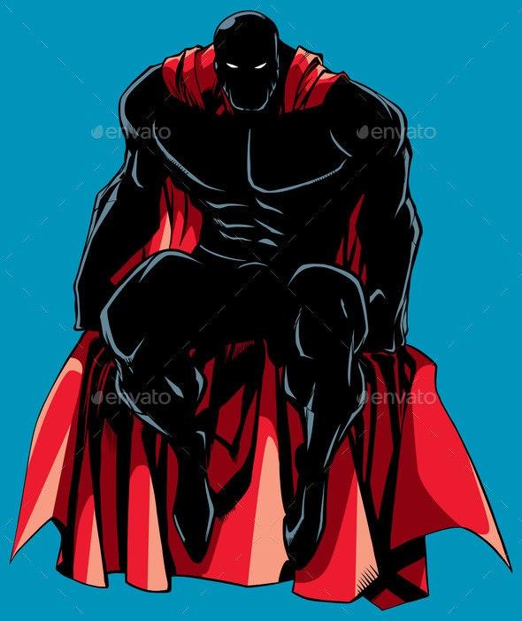 Superhero Sitting Silhouette - People Characters