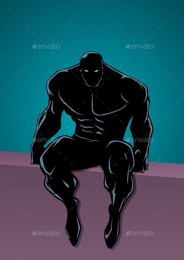 Superheroine Portrait in City Silhouette - People Characters