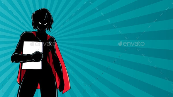 Superheroine Holding Book Ray Light Silhouette - People Characters