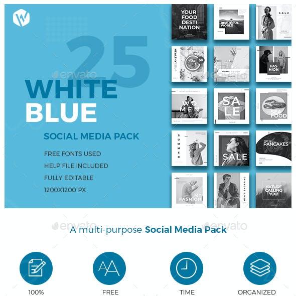 25 Instagram Blue & White Banners - Multi-purpose Social Media Pack