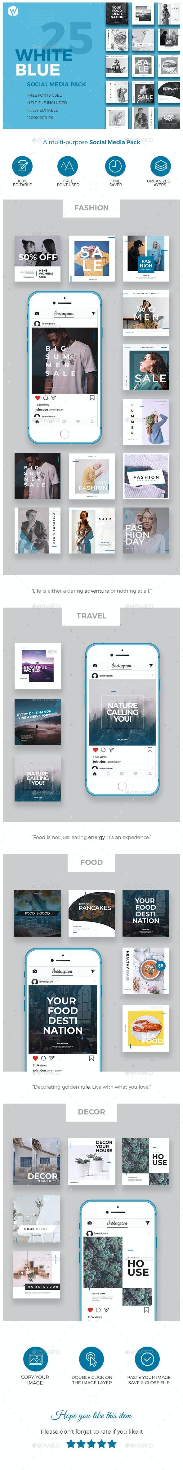 25 Instagram Blue & White Banners - Multi-purpose Social Media Pack - Social Media Web Elements