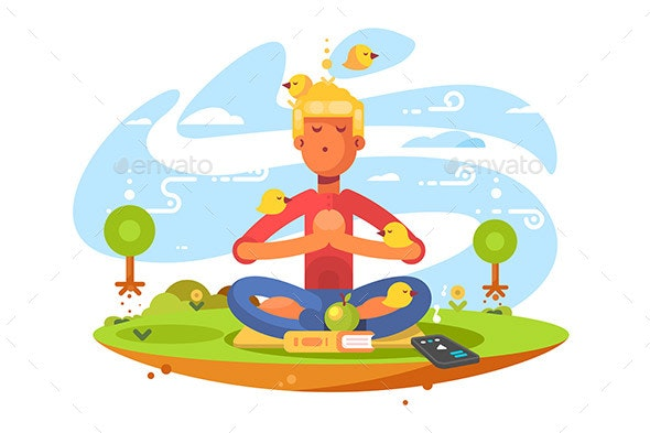 Young Man Meditating in Nature - Landscapes Nature