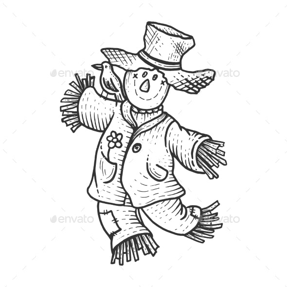 Scarecrow Sketch Engraving Vector Illustration - People Characters