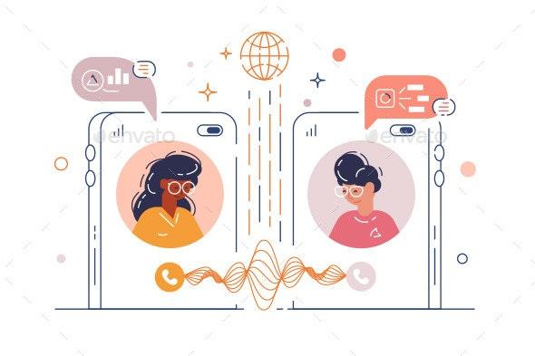 Women Chatting Via Mobile Phone App - Communications Technology