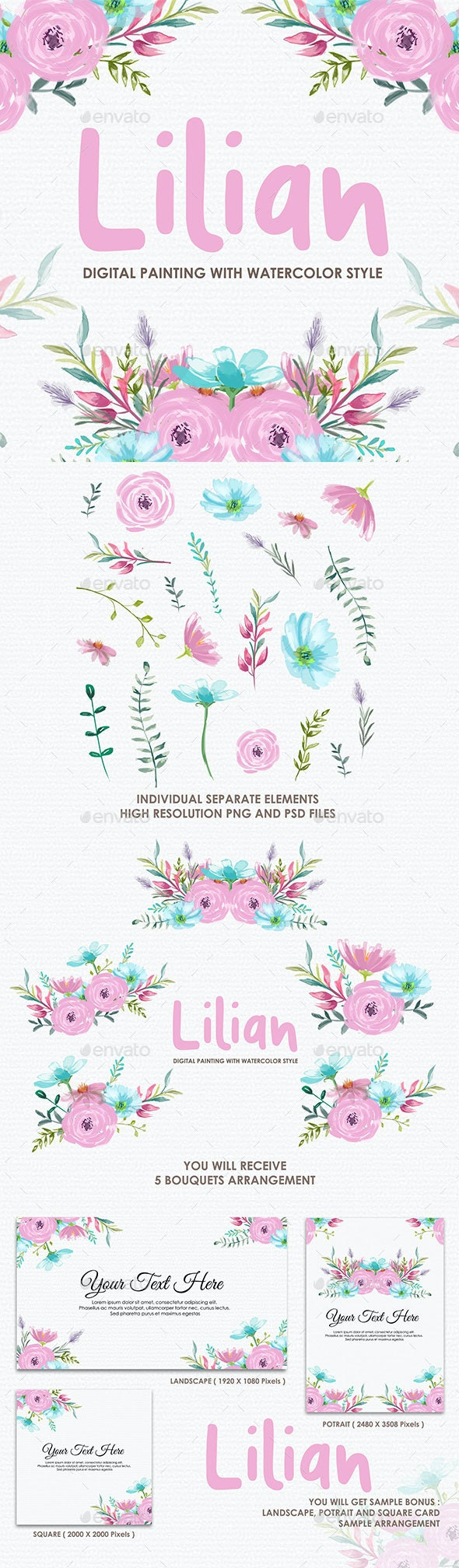 Lilian - Watercolor Digital Painting Floral Flowers Style - Decorative Graphics