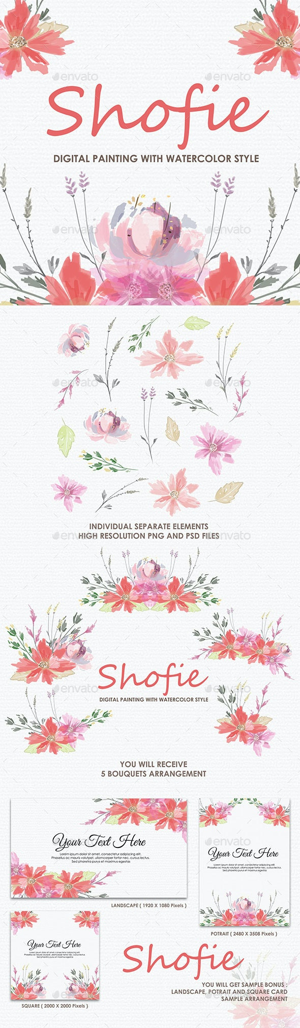Shofie - Watercolor Digital Painting Floral Flowers Style - Decorative Graphics