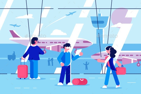People at Airport Terminal - Travel Conceptual