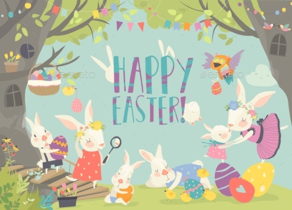Happy Bunnies Celebrating Easter in the Forest - Miscellaneous Seasons/Holidays