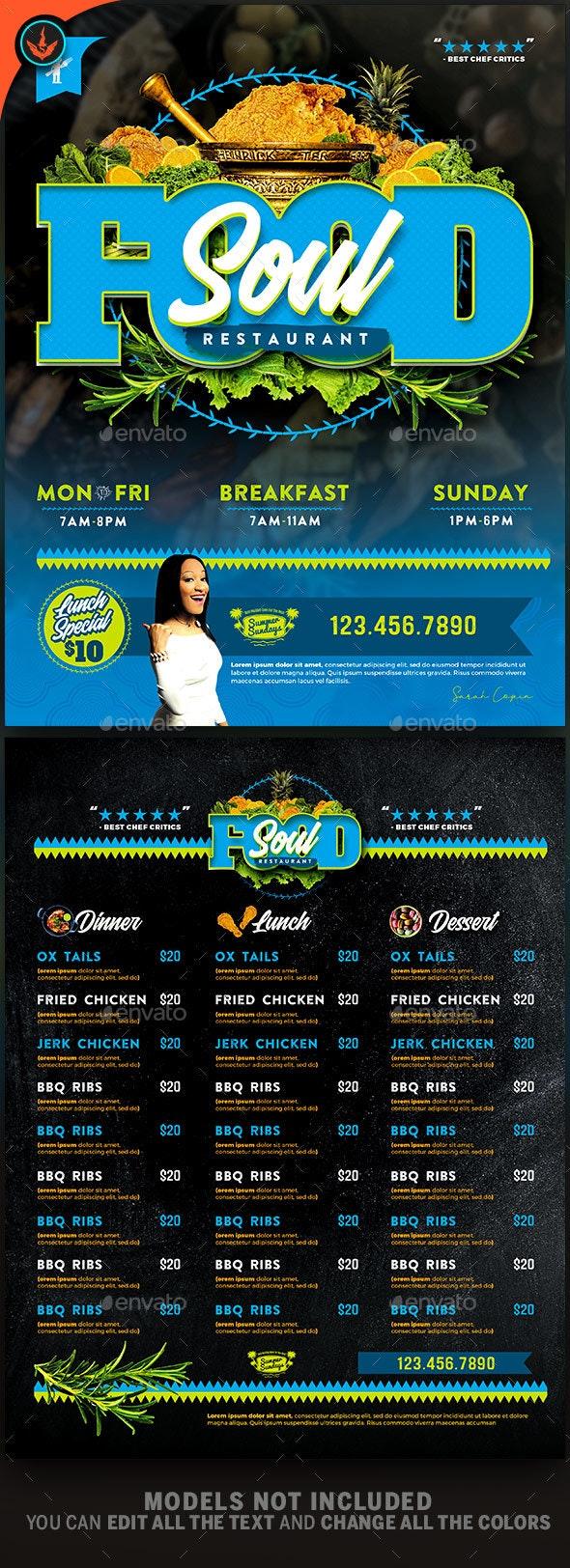 Soul Food Restaurant Menu Flyer Template - Restaurant Flyers