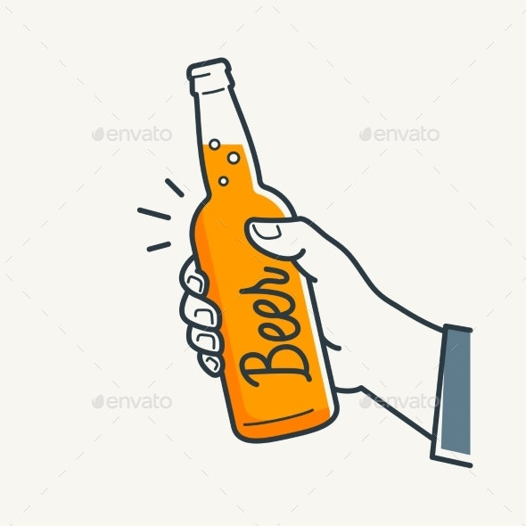 Hand Holds Beer Bottle - Food Objects