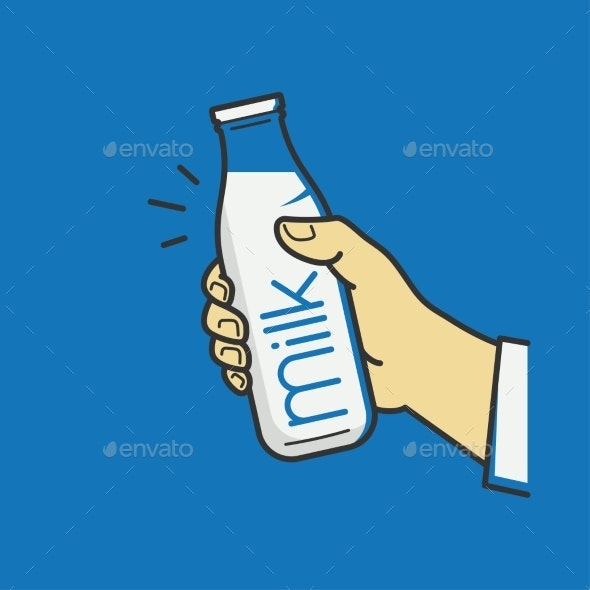 Hand Holds Milk Bottle - Food Objects