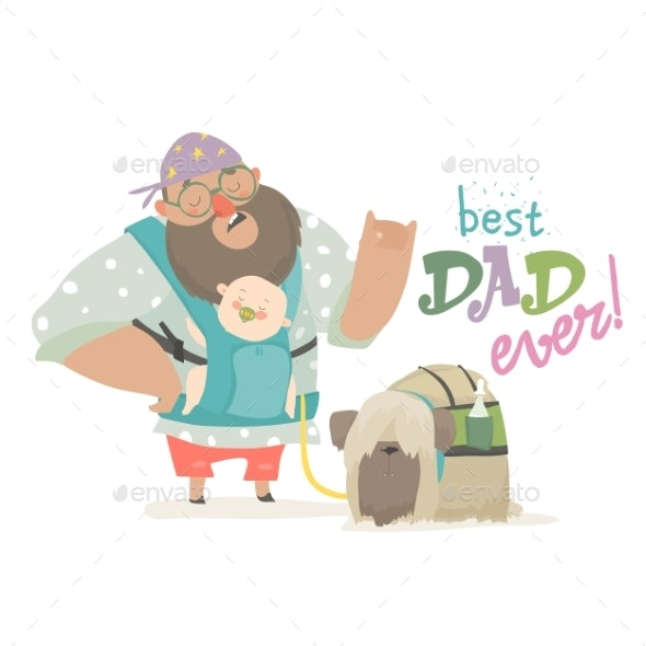 Daddy Holding His Baby in Ergobaby Carrier - People Characters