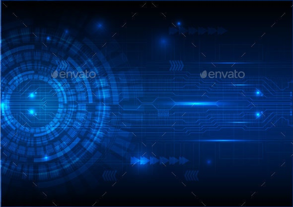 Digital Technology Circuit Abstract Background Vector Illustration - Backgrounds Decorative