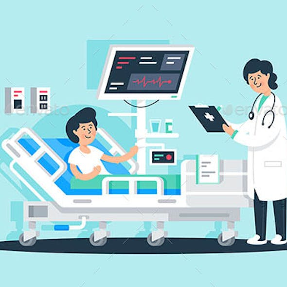 Flat Young Woman Doctor with Tablet and Patient