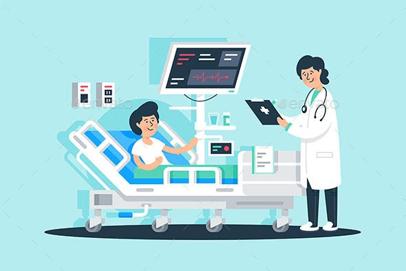 Flat Young Woman Doctor with Tablet and Patient - Health/Medicine Conceptual