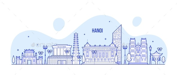 Hanoi Skyline Vietnam City Buildings Vector Linear - Buildings Objects