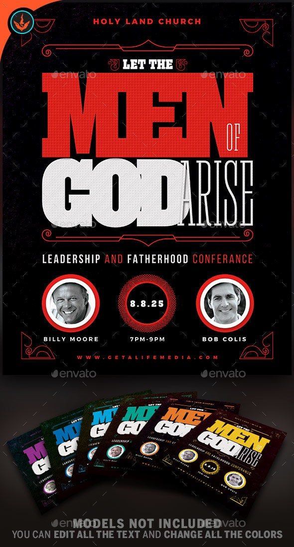 Let The Men of God Arise Church Flyer Template - Church Flyers