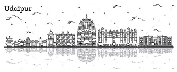 Outline Udaipur India City Skyline with Historical Buildings - Buildings Objects