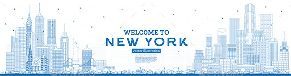 Outline Welcome to New York USA Skyline with Blue Buildings - Buildings Objects