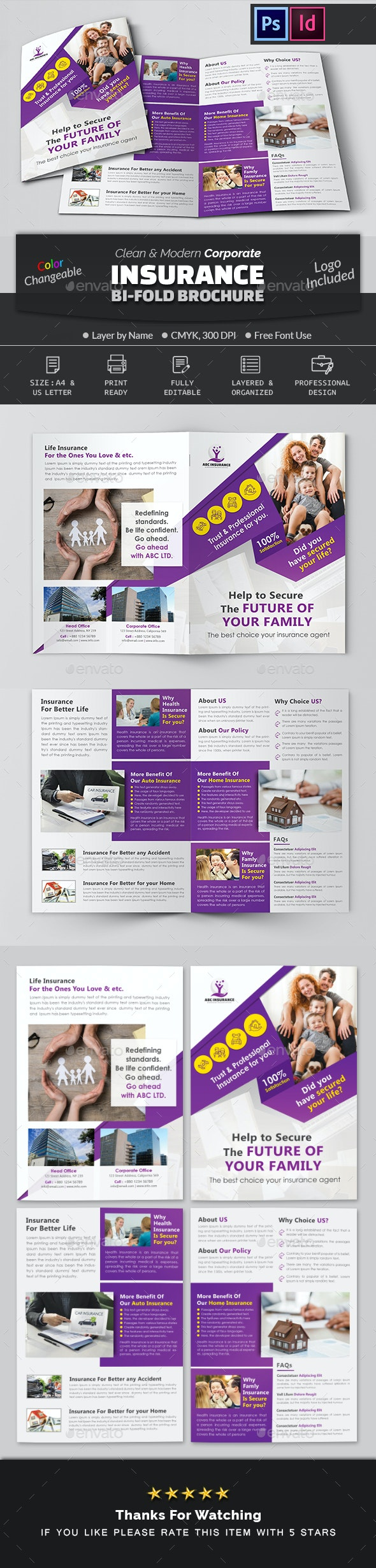 Insurance Company Bifold Brochure - Corporate Brochures